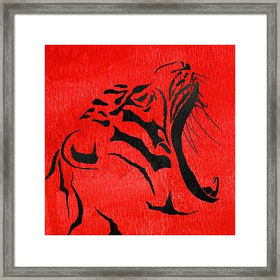Tiger Animal Decorative Red Poster 5 - By Diana Van Framed Print by Diana Van