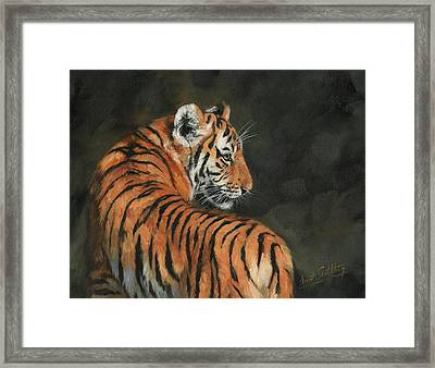 Framed Print featuring the painting Tiger At Night by David Stribbling