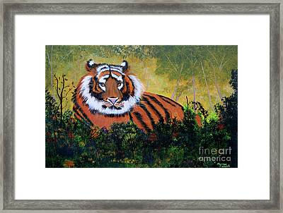 Framed Print featuring the painting Tiger At Rest by Myrna Walsh