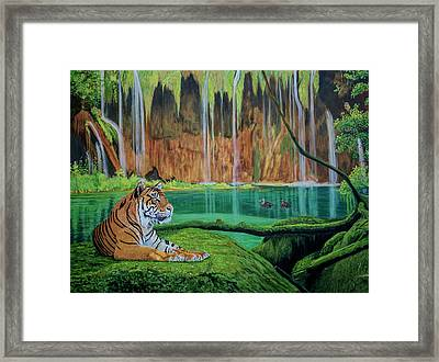 Tiger At The Waterfall  Framed Print by Manuel Lopez