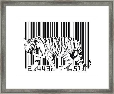 Tiger Barcode Framed Print by Michael Tompsett