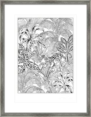 Tiger Black And White Framed Print