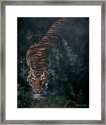 Framed Print featuring the painting Tiger by Bryan Bustard