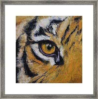 Tiger Eye Framed Print by Michael Creese