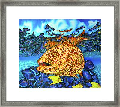 Tiger Grouper And Tang Fish Framed Print by Daniel Jean-Baptiste