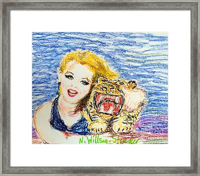 Tiger Hug Framed Print