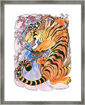 Framed Print featuring the painting Tiger In Cherries by Jenn Cunningham