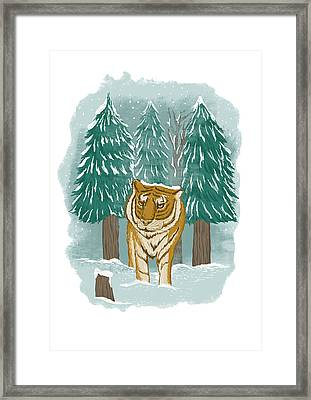Tiger In The Snow Framed Print by Anggrahito Pramono