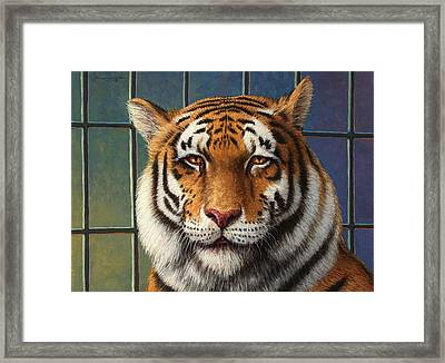 Tiger In Trouble Framed Print by James W Johnson