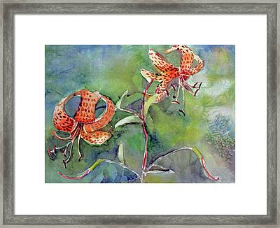 Framed Print featuring the painting Tiger Lilies by Mindy Newman