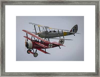 Tiger Moth And Fokker Dr1 Formation Framed Print by Roberto Resnigo