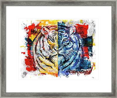 Framed Print featuring the painting Tiger, Original Acrylic Painting by Ariadna De Raadt