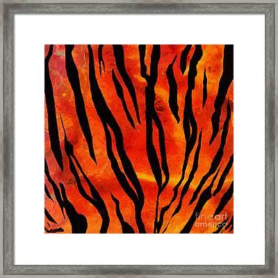 Tiger Pattern Square 2 Framed Print