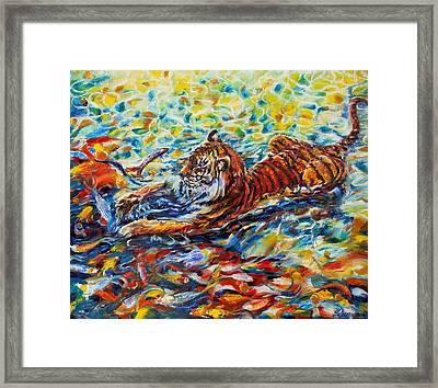 Tiger Snack Framed Print by Yelena Rubin