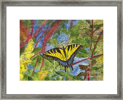Tiger Swallowtail Watercolor Batik On Rice Paper Framed Print
