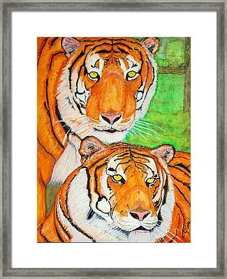 Tiger Twins Framed Print by Jose Cabral