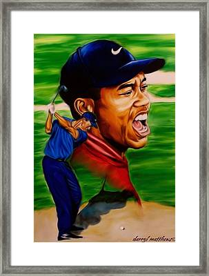 Tiger Woods. Framed Print by Darryl Matthews