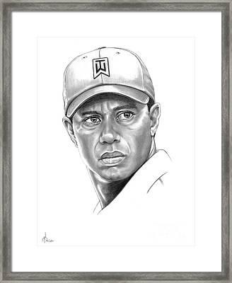 Tiger Woods Framed Print by Murphy Elliott