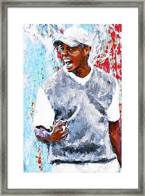 Framed Print featuring the photograph Tiger Woods One Two Red Painting Digital by David Haskett