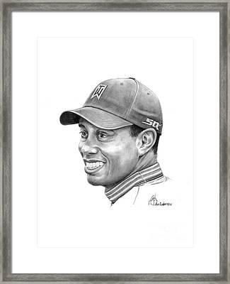 Tiger Woods Smile Framed Print by Murphy Elliott