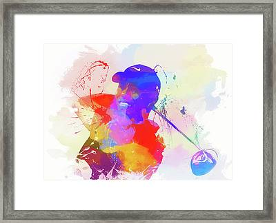 Tiger Woods Watercolor Framed Print