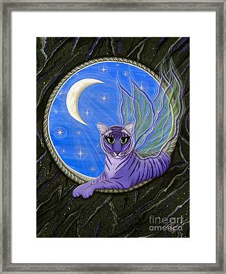 Framed Print featuring the painting Tigerpixie Purple Tiger Fairy by Carrie Hawks