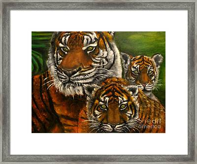 Tigers Family Oil Painting Framed Print by Natalja Picugina