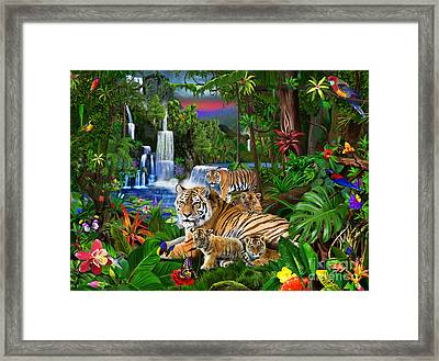 Tigers Of The Forest Framed Print by Gerald Newton