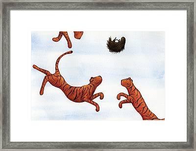 Tigers On A Trampoline Framed Print by Christy Beckwith