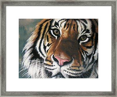 Framed Print featuring the pastel Tigger by Barbara Keith