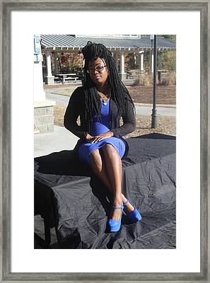 Tight Blue Dress And Heels  Framed Print