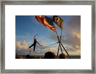 Tight Rope Walker In Key West Framed Print