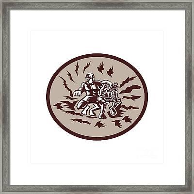 Tiitii Wrestling God Of Earthquake Circle Woodcut Framed Print by Aloysius Patrimonio