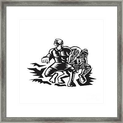 Tiitii Wrestling God Of Earthquake Woodcut Framed Print by Aloysius Patrimonio