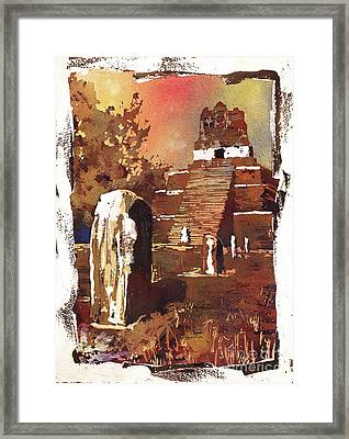Framed Print featuring the painting Tikal Mayan Ruins- Guatemala by Ryan Fox