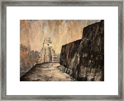 Framed Print featuring the painting Tikal Ruins- Guatemala by Ryan Fox