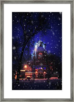 Tikhvin Church 1. Snowy Days In Moscow Framed Print by Jenny Rainbow