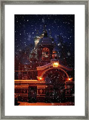 Tikhvin Church Gates. Snowy Days In Moscow Framed Print by Jenny Rainbow