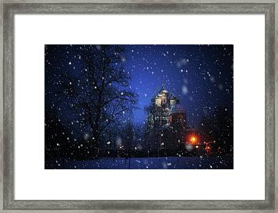 Tikhvin Church. Snowy Days In Moscow Framed Print