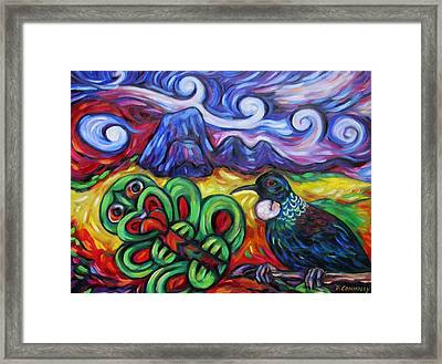 Tiki And Tui Under Mount Taratara Framed Print