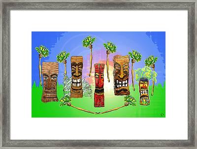 Tiki Garden Framed Print by W Gilroy