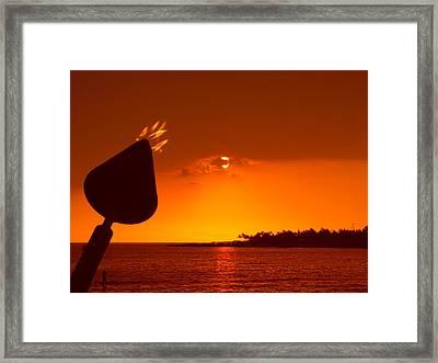 Tiki Lights In Kona Framed Print