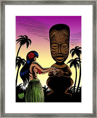 Tiki Sunset Framed Print by Keith Tucker