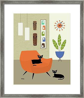 Framed Print featuring the digital art Tikis On The Wall by Donna Mibus
