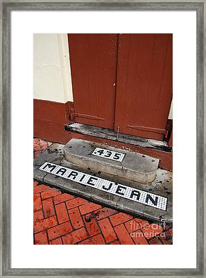 Tile Inlay Steps Marie Jean 435 Wooden Door French Quarter New Orleans Framed Print by Shawn O'Brien
