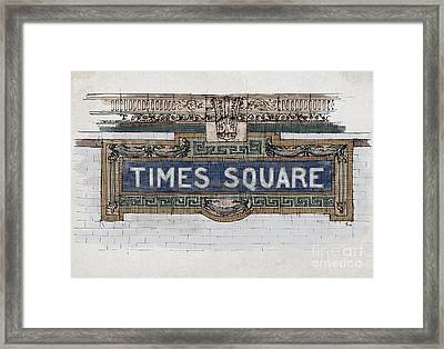 Tile Mosaic Sign, Times Square Subway New York, Handmade Sketch Framed Print by Pablo Franchi