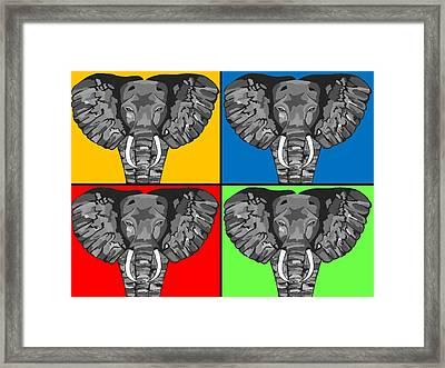 Tiled Elephants Framed Print