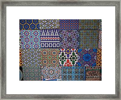 Tiles For Sale In Market, Essaouira Framed Print by Panoramic Images