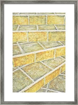 Tiles Steps Framed Print by Tom Gowanlock