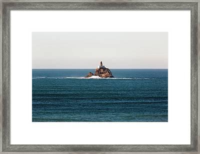 Tillamook Rock Lighthouse On A Calm Day Framed Print